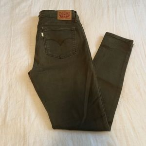 Levi's 711 Military Green Skinny Jeans 29 x 32